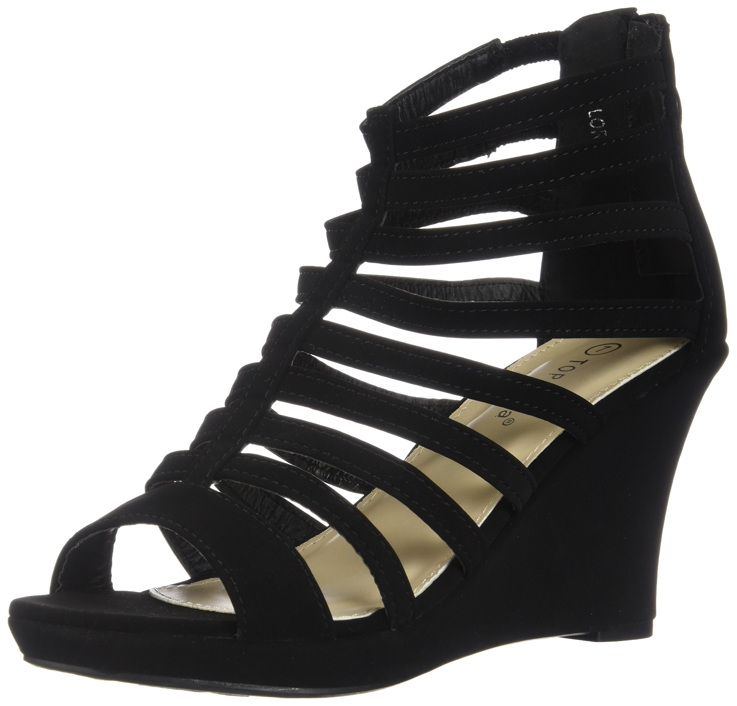 Top Moda Womens Gladiator Inspired Bird Cage Strappy Wedge Sandals Black 6