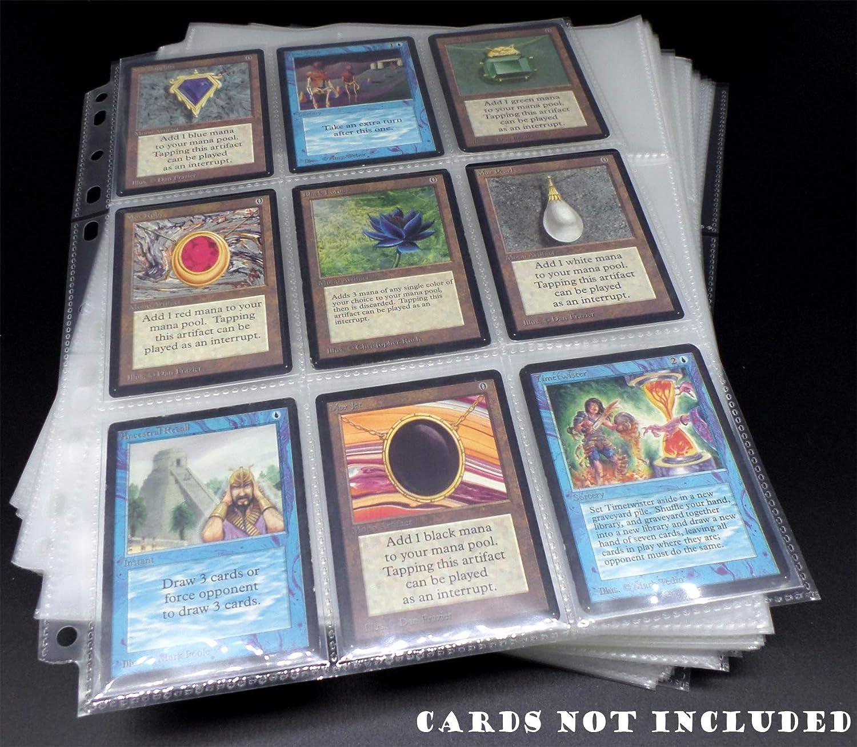 docsmagic.de 100 9-Pocket Pages - 11-Hole - 3-Ring Album - MTG - YGO - PKM - Juego de Fundas para Cartas para Jugar y coleccionar - Hojas de 9 Bolsillos: Amazon.es: Juguetes y juegos