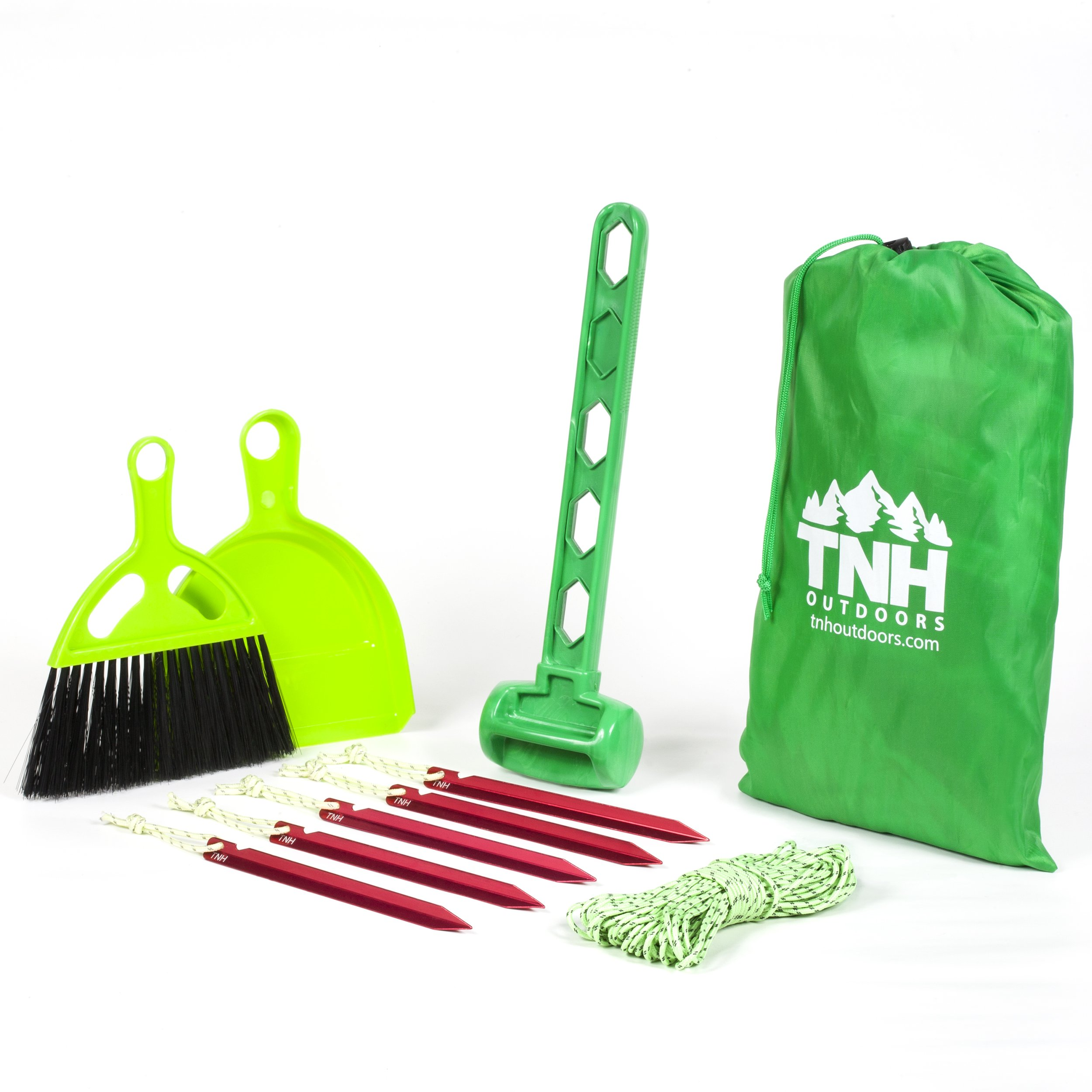 TNH Outdoors Tent Stakes Kit With 5 Aluminum Tent Pegs, Plastic Mallet, Reflective Nylon Paracord, Nesting Hand Broom & Dustpan And A Carrying Mesh Bag