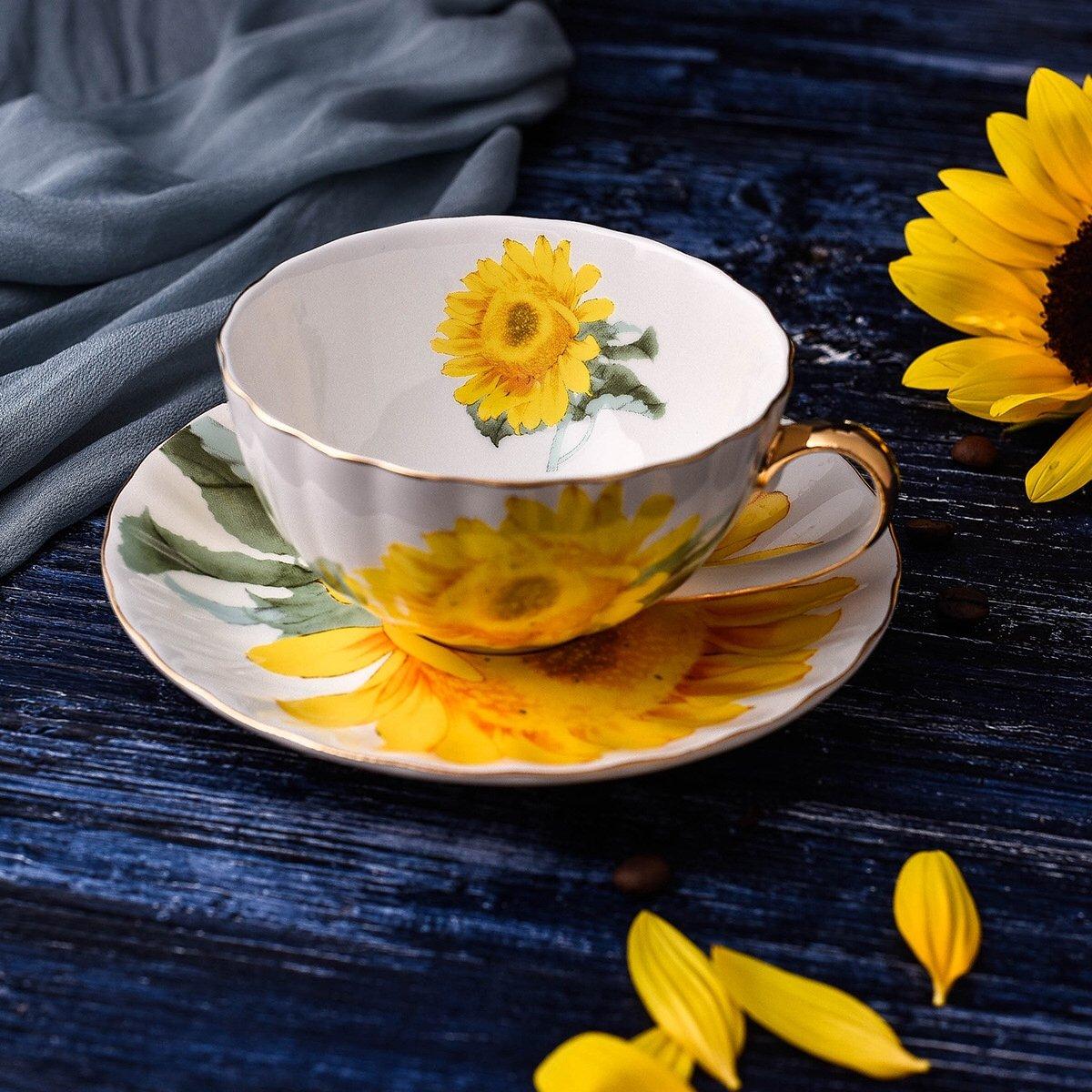 YosouホームPersonalized UniqueカスタムデザインセラミックコーヒーMug and Saucer withスプーンセットティーカップセットの高級スタイルギフトボックス – ギフト イエロー B072JCTFVB サンフラワー サンフラワー