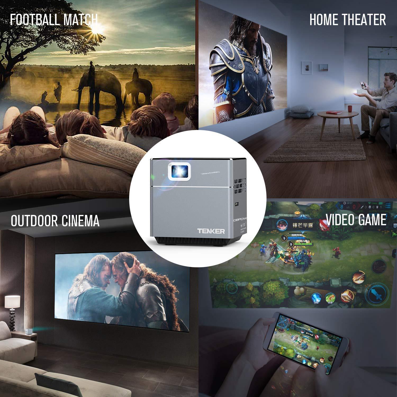 tragbarer LED Taschen Beamer zum mitnehmen F/ür Indoor und Outdoor TENKER Mini W/ürfel Cube DLP Beamer mit WiFi inklusive Stativ 30.000 Stunden LED Lebenszeit Unterst/ützt Android und IOS
