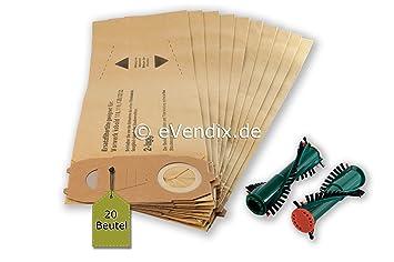 20 Filtertüten Ersatzbürsten passend für Vorwerk Kobold 120 121 122 Tüten