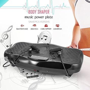 Laiozyen Plataforma Vibratoria, Máquina de Ejercicio Masaje y Altavoz Bluetooth con Control Remoto y Bandas de Elásticas Carga 150kg | Gran ...
