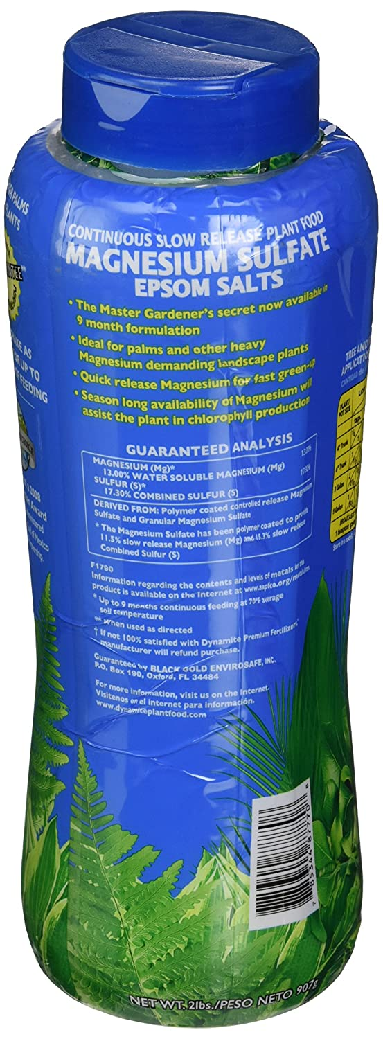 Amazon.com : Dynamite 887770 Magnesium Sulfate Plant Food, 2-Pound : Fertilizers : Garden & Outdoor