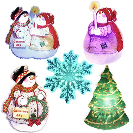 Emma 5 Pcs Pvc Christmas Snowman Silhouette Christmas Xmas Tree Christmas Snowflake Silhouette Window Decor Christmas Window Decoration Fairy