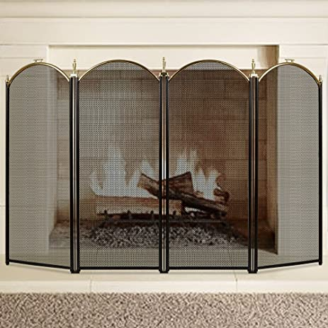 Large Gold Fireplace Screen 4 Panel Ornate Wrought Iron Black Metal Fire  Place Standing Gate Decorative