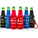 Beer Bottle sleeves- Set of 6 Multi Color Zipper Coolies with Funny Quotes - Thick Neoprene - Fully stitched, Non-Glued Base - Thermosuit Cooler + Bottle Opener - Trendy & Awesome any occasion Gift