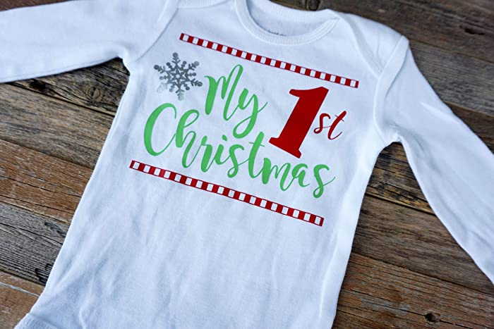9b82eb12531b Image Unavailable. Image not available for. Color: My 1st Christmas onesie Baby's  First Christmas outfit