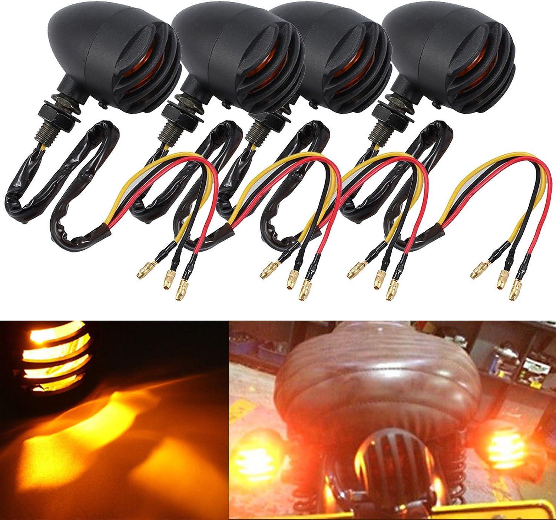 AUTOUTLET 4PCS Black Retro Motorcycle Bulb Turn Signal Blinker Lights Indicators Amber Lens for Harley Davidson Honda Suzuki Yamaha Kawasaki