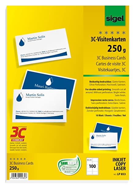 Sigel Lp853 85x55 Mm A4 Business Cards 3c Smooth Cut All Around 250 Gsm Bright White 100 Pcs 10 Sheets