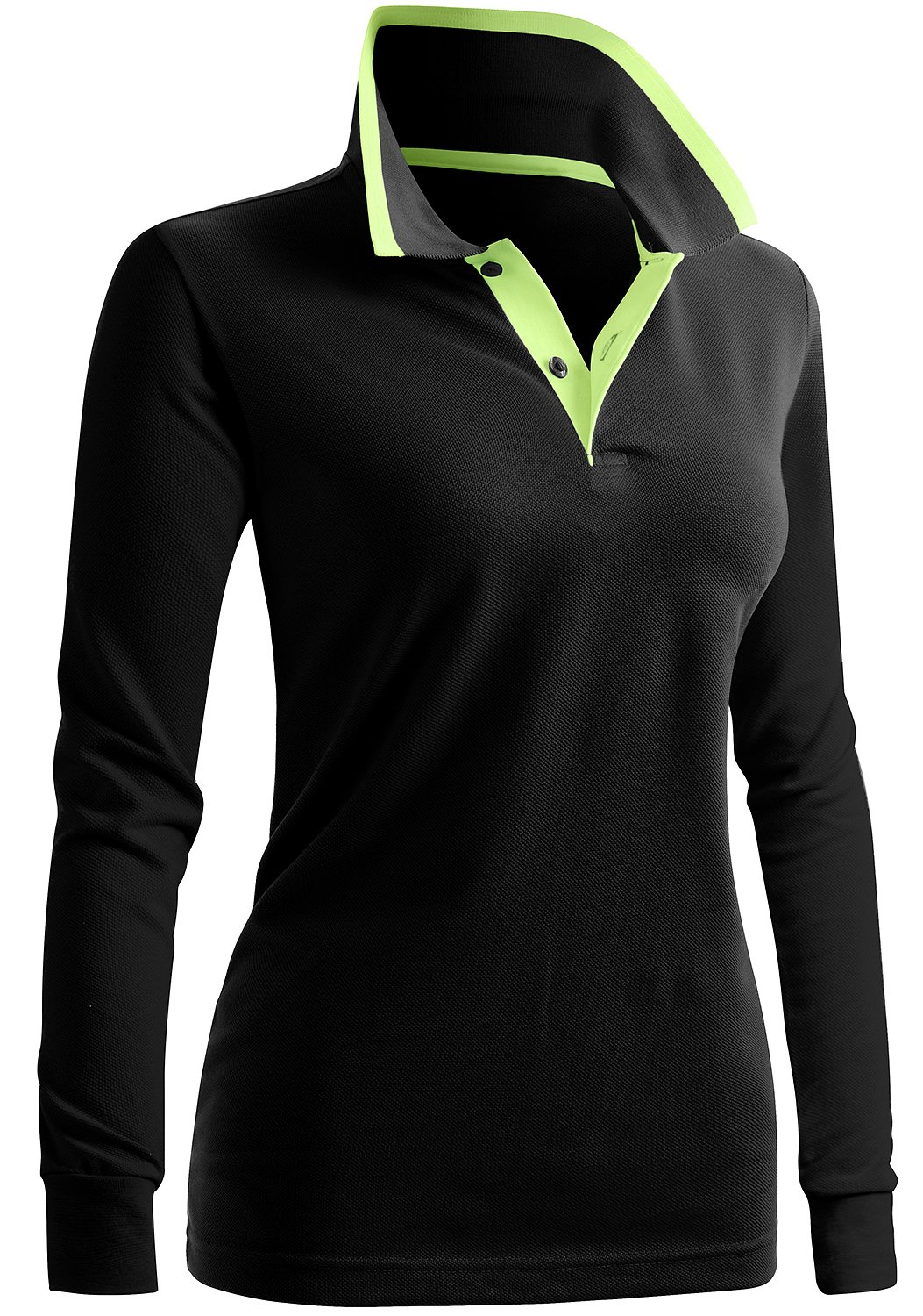 CLOVERY Women's Classic Fit Long Sleeve Basic Polo Shirts Black US L/Tag L