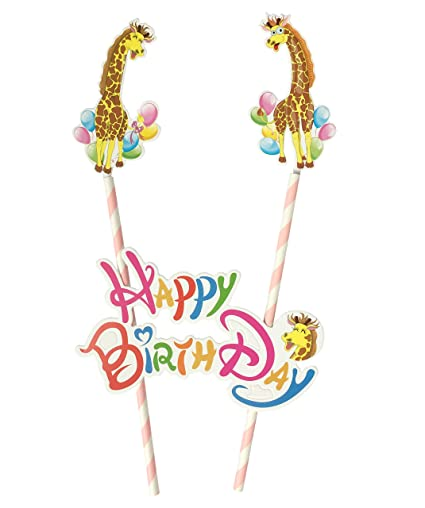 Giraffe Happy BirthDay Cake Topper Banner Decorations Theme For Kids Adults Toddler Boys