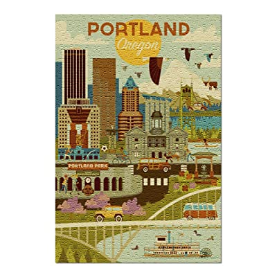 Portland, Oregon - Geometric (Premium 500 Piece Jigsaw Puzzle for Adults, 13x19, Made in USA!): Toys & Games