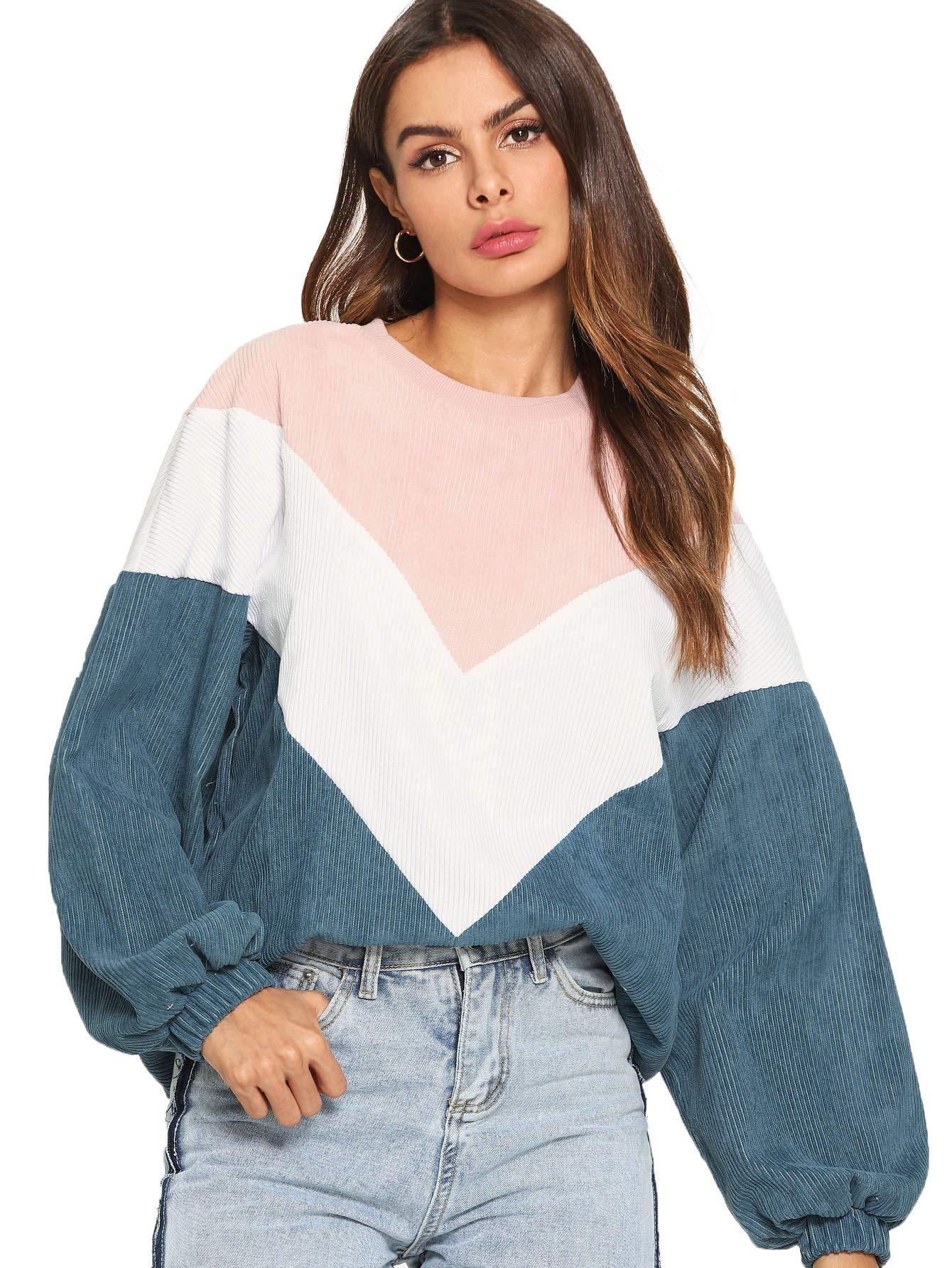 Romwe Women's Loose Colorblock Sweatshirt Lantern Sleeve Round Neck Pullover Tops
