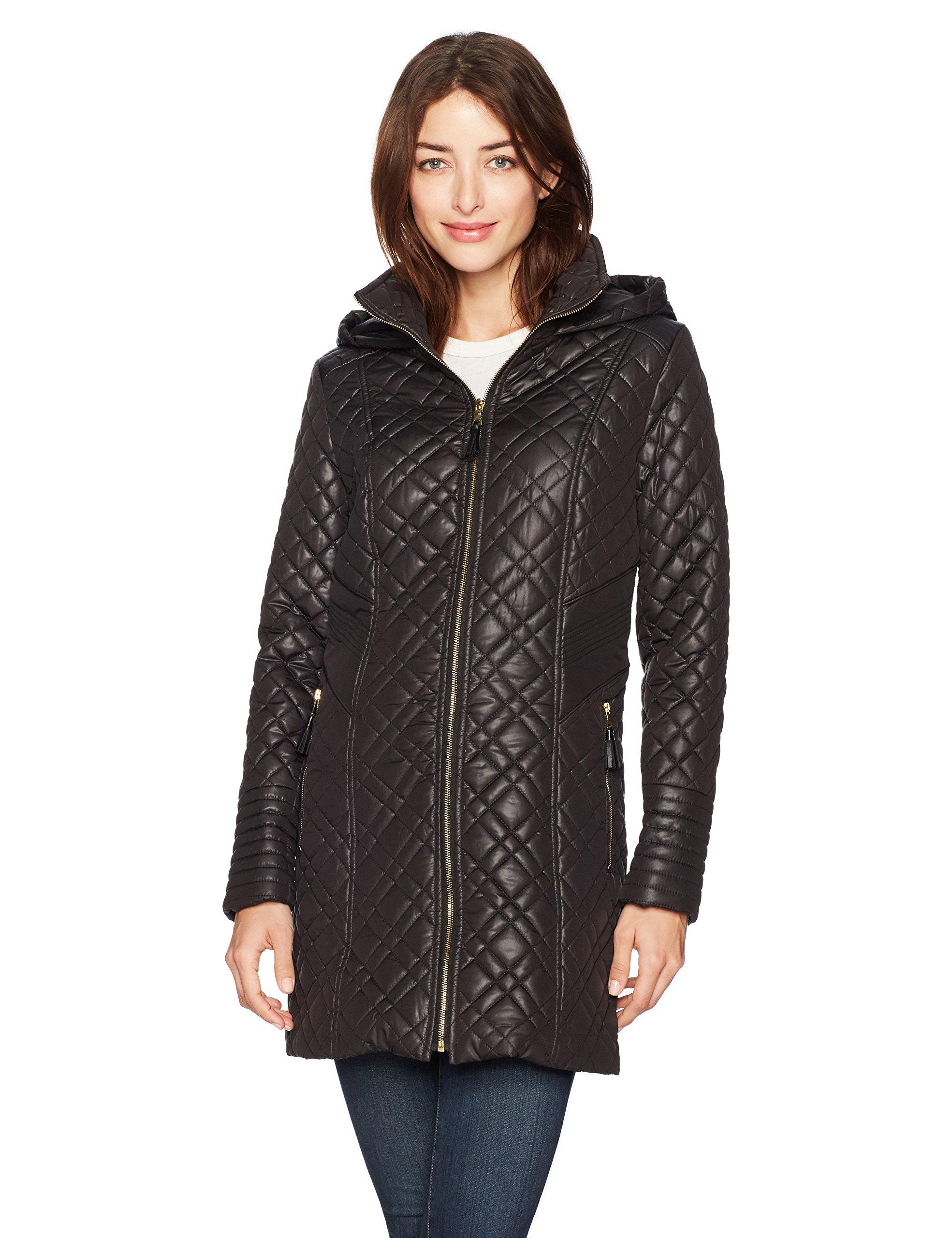 Via Spiga Women's Center Zip Diamond Quilt Coat with Hood, Black, Large by Via Spiga