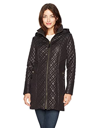 12526cc1bd9 Via Spiga Women's Center Zip Diamond Quilt Coat with Hood, Black, X-Small