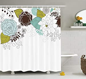 JAMES STRAIN Spring Shower Curtain, Ornamental Florets Blooms Romantic with Leaves Beauty Design, Fabric Bathroom Decor Set with Hooks, 75 Inches Long, Dark Brown Seafoam Apple Green