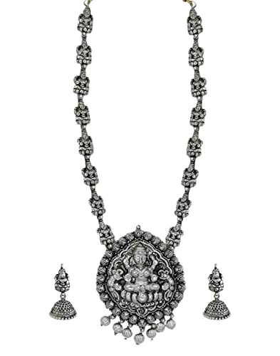 Buy zaveri pearls dark antique oxidised temple necklace set for zaveri pearls dark antique oxidised temple necklace set for women zpfk5989 aloadofball