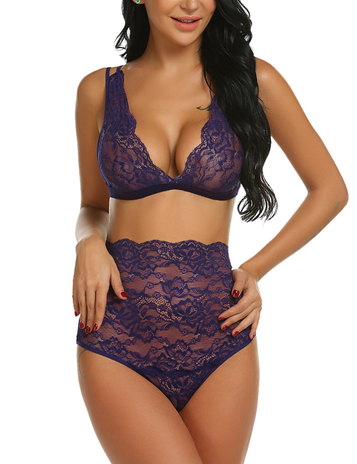 Avidlove Women's Lace Lingerie High Waist Bra and Panty Set Strappy Babydoll Bodysuit Purple M