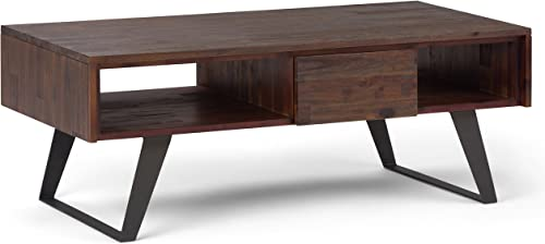 SIMPLIHOME Lowry SOLID ACACIA WOOD and Metal 48 inch Wide Rectangle Modern Industrial Coffee Table