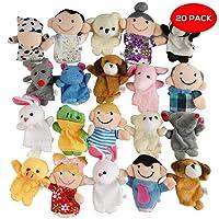 THE TWIDDLERS 20 marionette colorate per dita con simpatici animali. Perfetti come regalini per feste, da inserire nei sacchetti e nelle calze