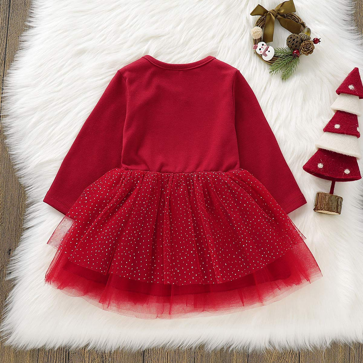 Tianhaik 1-4T Little Girls Christmas Elk Tutu Dress Princess Party Mesh Skirt Xmas Outfits