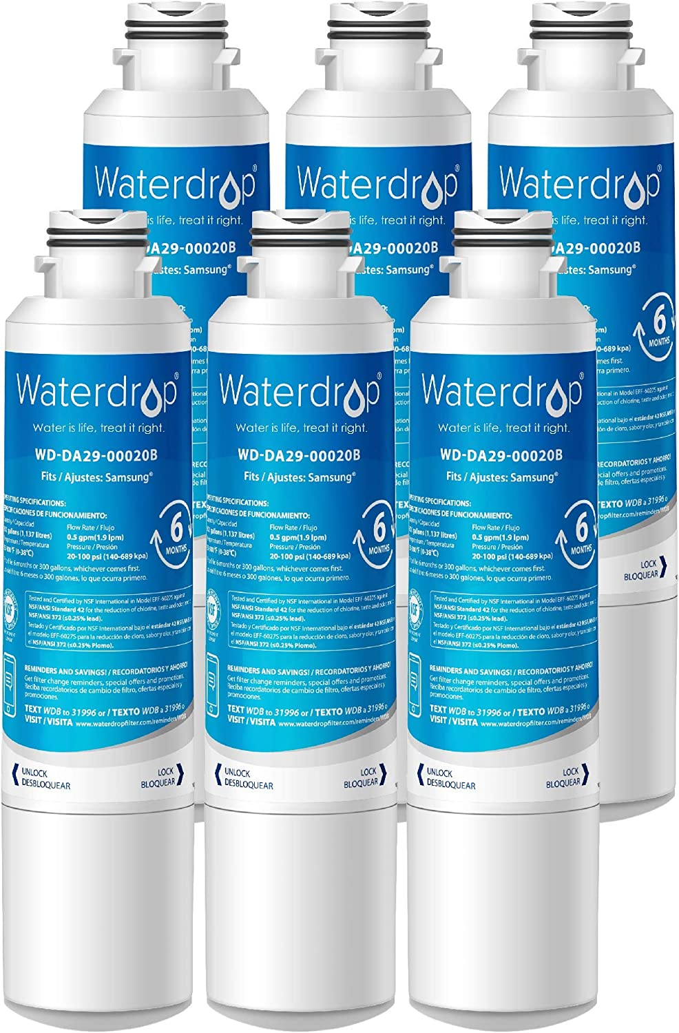 Samsung DA29-00020B Refrigerator Water Filter Replacement by Waterdrop, Compatible with Samsung DA29-00020B, DA29-00020B-1, Haf-Cin/Exp, 46-9101, RF4267HARS, 3 Filters