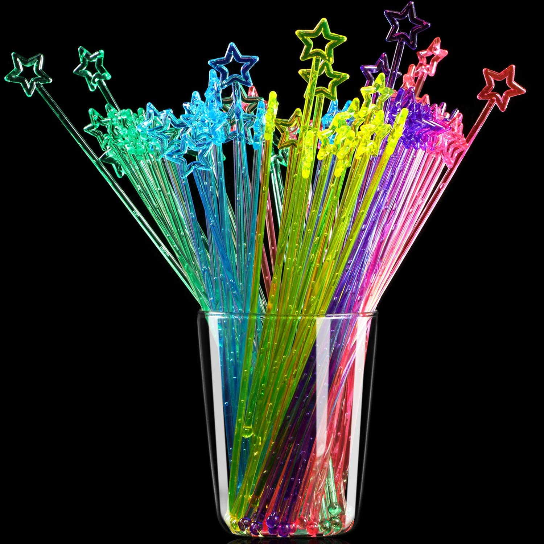 Multicolor 100 Pieces 9.1 Inch Star Top Swizzle Sticks Disposible Plastic Star Top Crystal Swizzle Sticks