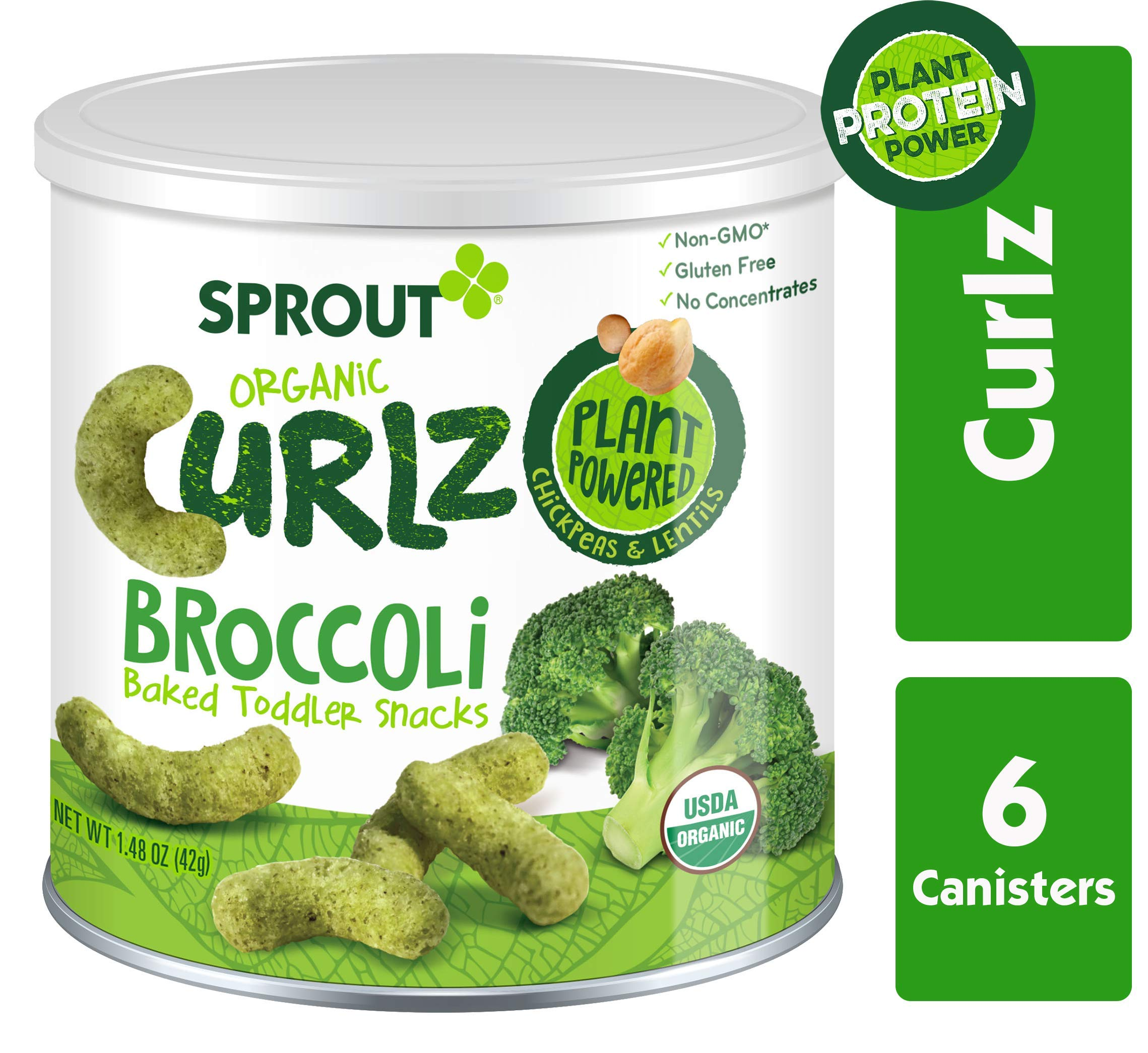 Sprout Organic Curlz Toddler Snacks, Broccoli, 1.48 Ounce (6 Count) Canister by Sprout