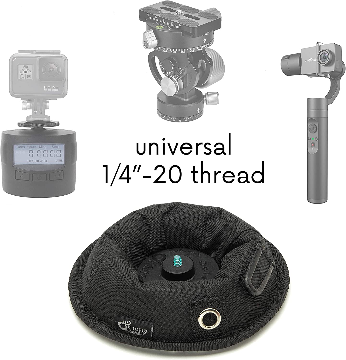 """OctoPad Universal Base Stand and Table Mini Tripod, for Travel, Mirrorless, Action 360 Camera, Cell Phone, Smartphone, LED Light, Flash Unit, Selfie Stick and Microphone, with All-Purpose 1/4"""" Thread : Camera & Photo"""