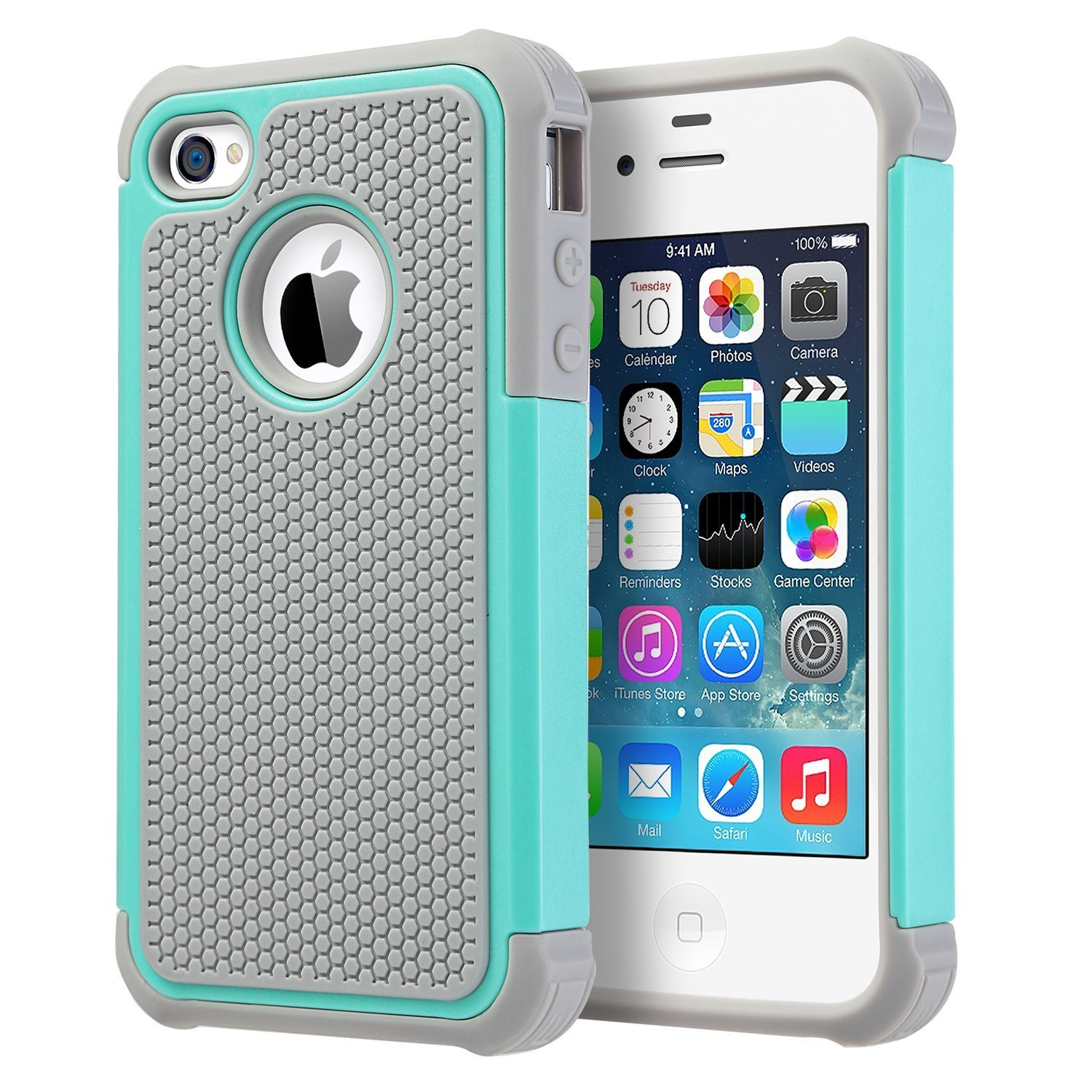 iPhone 4 Case, iPhone 4S Case,UARMOR Hybrid Dual Layer Protective Case Cover with Hard Plastic and Soft Silicone for iPhone 4S & iPhone 4 - Mint Green+Gray