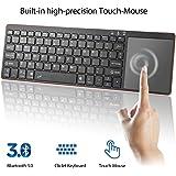 Alitoo Wireless Bluetooth Tastatur, Kabellos Touchpad Tastatur Ultra Slim für Windows Mac PC Laptop und Smart TV(Batterie nicht enthalten) Schwarz