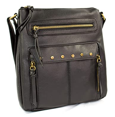2abbb6b4e397 Image Unavailable. Image not available for. Color  Black Edgy Zippered  Messenger Crossbody Side Bag