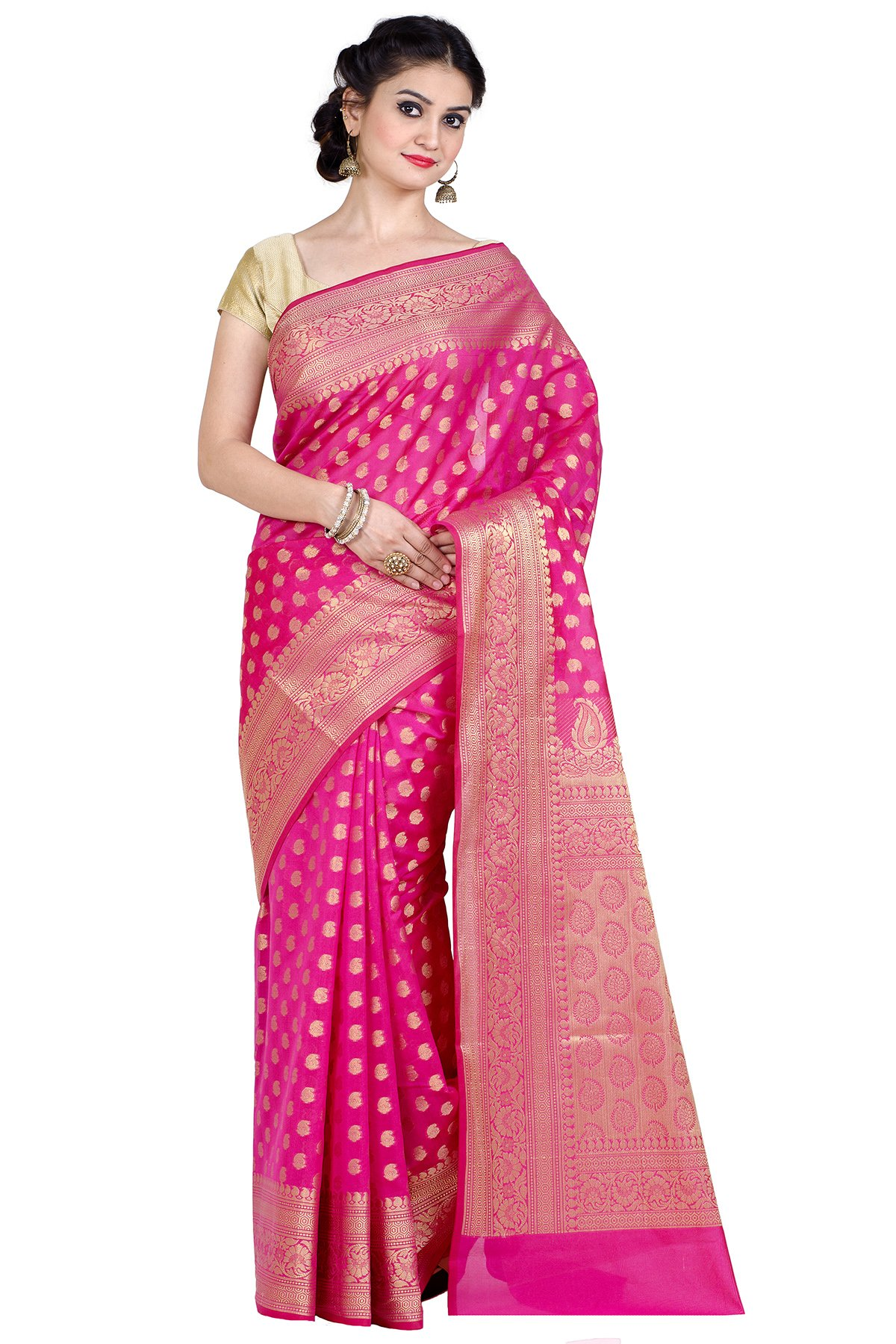 Chandrakala Women's Cotton Silk Banarasi Saree Free Size Pink