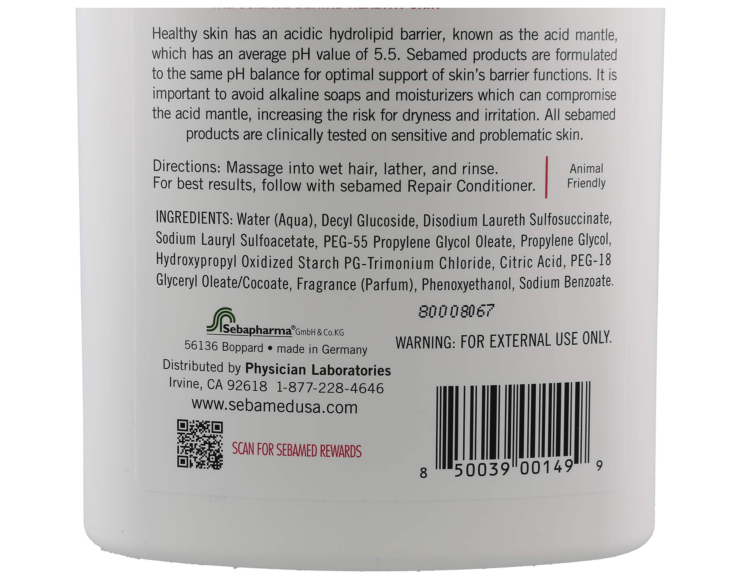 Sebamed Everyday Shampoo for All Hair Types and Sensitive Scalp 33.8 Fl. Oz (1L) Hypoallergenic Dermatologist Recommended pH 5.5 Soap and Alkali Free by SEBAMED (Image #3)