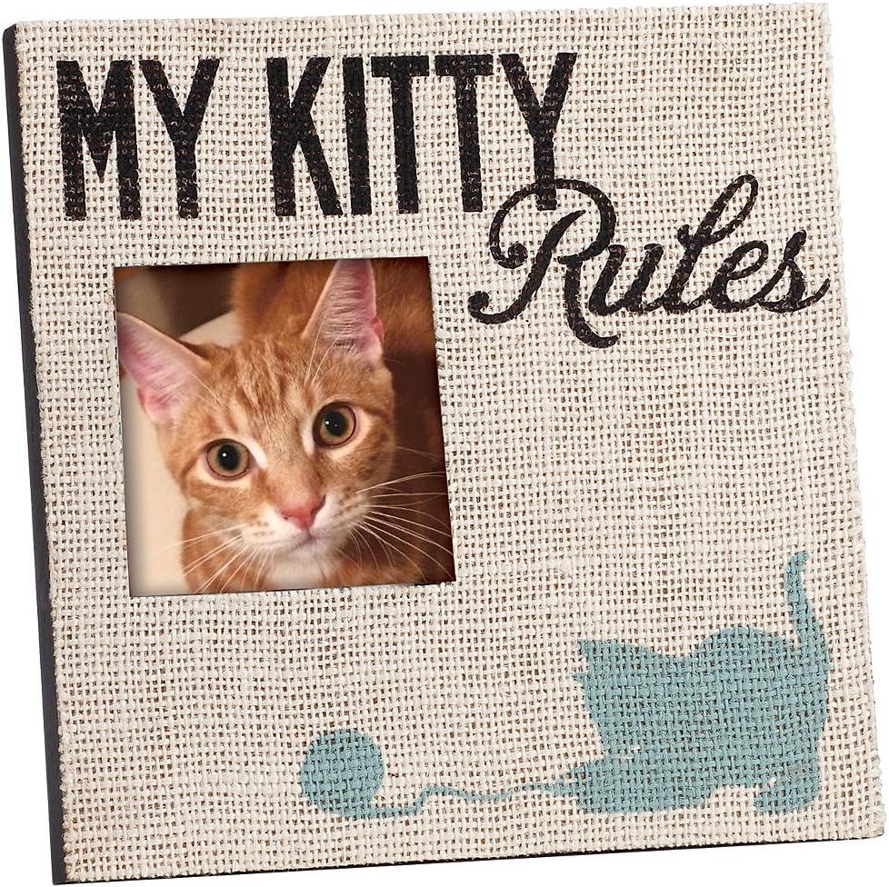 Amante de los gatos My kitty reglas marco de fotos con yute de serigrafía diseño de: Amazon.es: Hogar