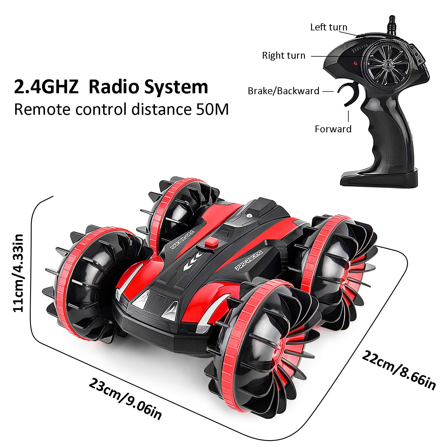 Waterproof RC Cars for Kids Remote Control Car Boat RC Truck Amphibious Stunt Car 4WD Off Road 2.4GHz Radio Controlled Vehicle 360 Degree Rotates Toys for 7-16 Year Old Boys Girls Birthday Gift Red by ROOYA BABY (Image #5)