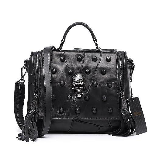 Jonon Women s Genuine Leather Sheepskin Studded Skull Shoulder Bag  Crossbody Bag  Amazon.co.uk  Shoes   Bags 52bc995f59814