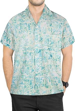 LA LEELA Casual Hawaiana Camisa para Hombre Señores Manga Corta Bolsillo Delantero Surf Palmeras Caballeros Playa Aloha XL-(in cms):121-132 Verde_W626