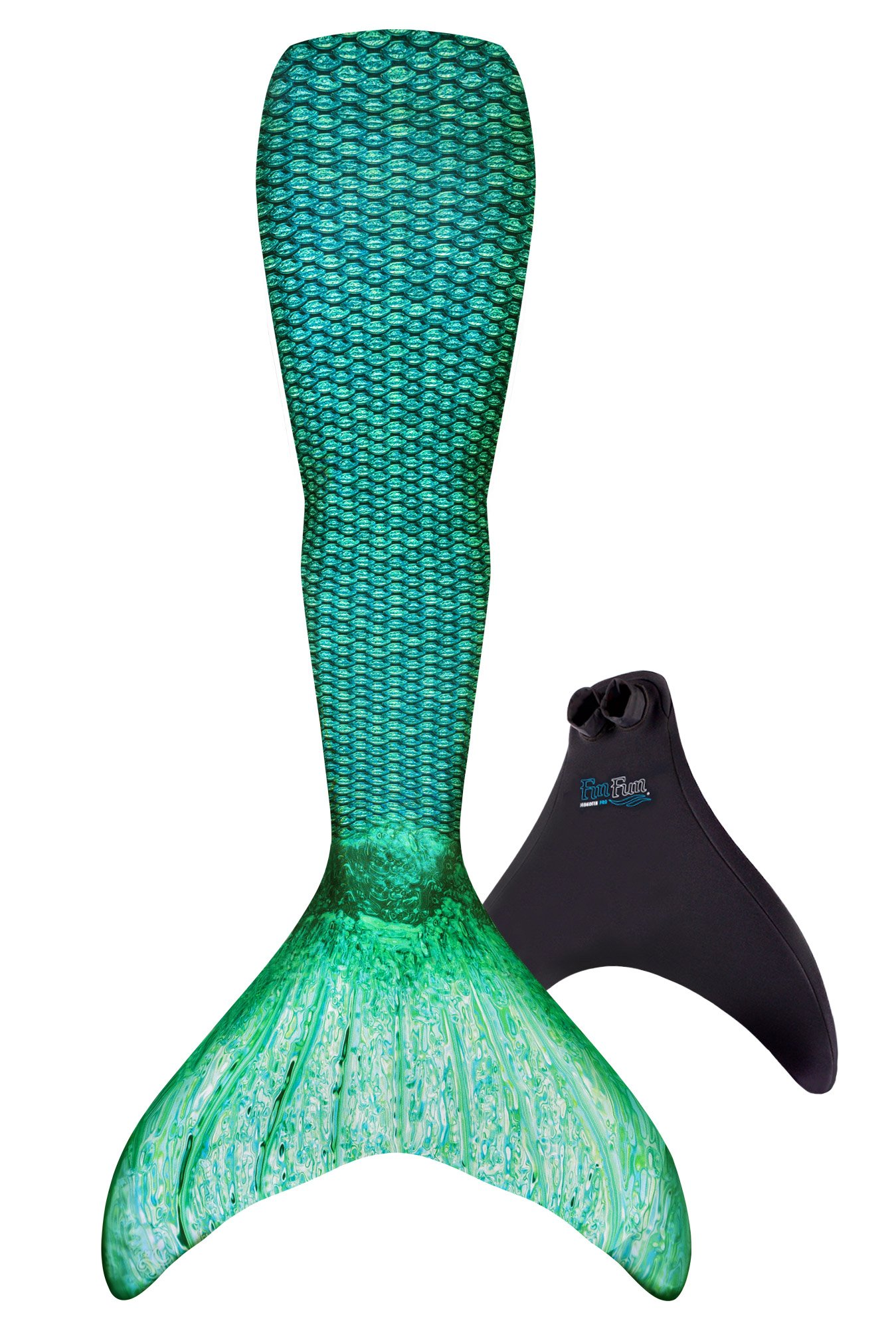 Fin Fun Mermaid Tail, Reinforced Tips, Monofin, Celtic Green, Size Adult XS