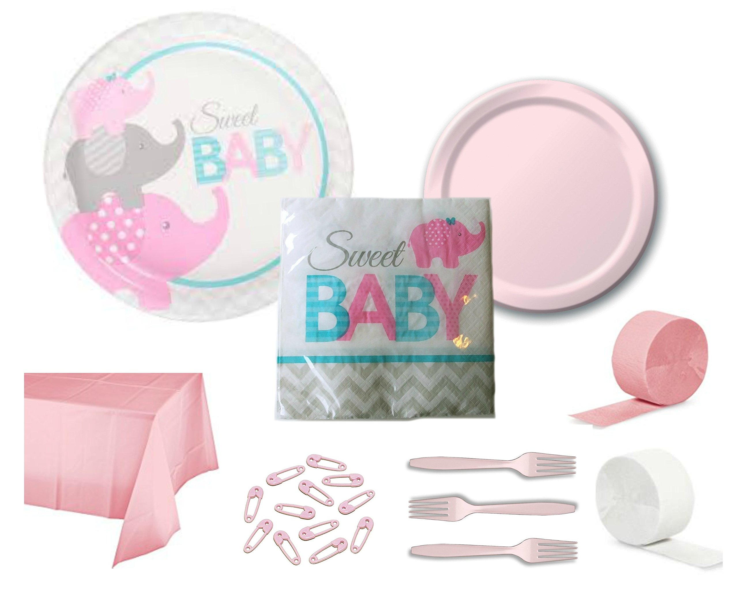 Pink Elephant Girl Sweet Baby Shower Party Supply Bundle for 24 Guests - Includes Plates, Napkins, Tablecover, Forks, Streamers and Safety Pin Cake Toppers