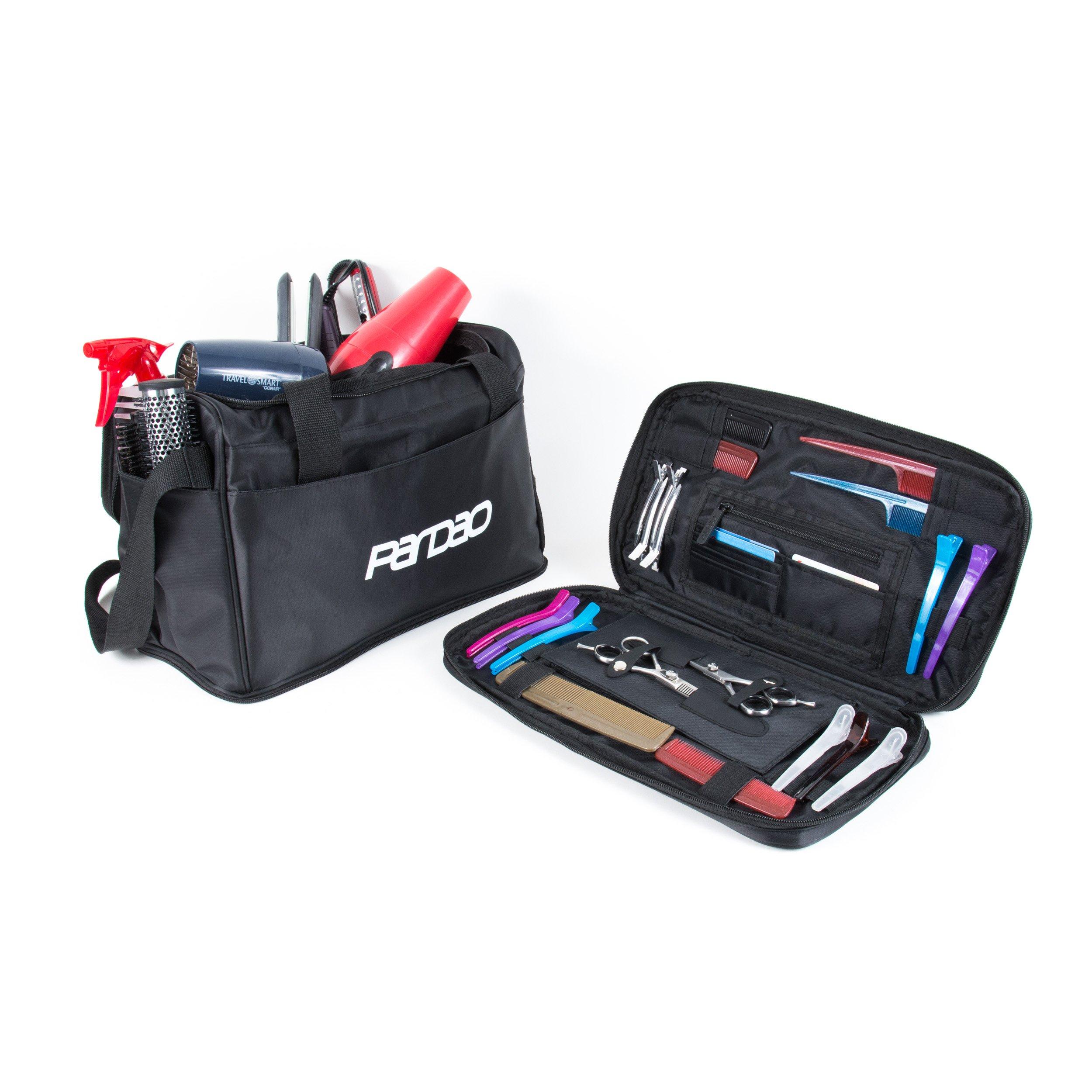 Pardao Hair Stylist Heat Resistant Travel Bag - Barber Hairdresser Tote Bag (Black)