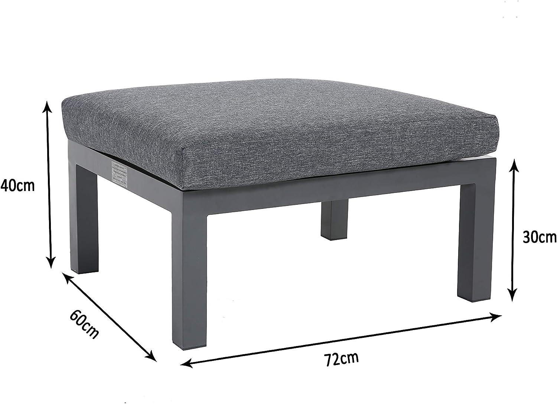 Wei/ß//Grau Taburete flexibel einsetzbar mit wasserabweisenden Kissen Blanco-Gris Gartenfreude Aluminium Hocker Ambience