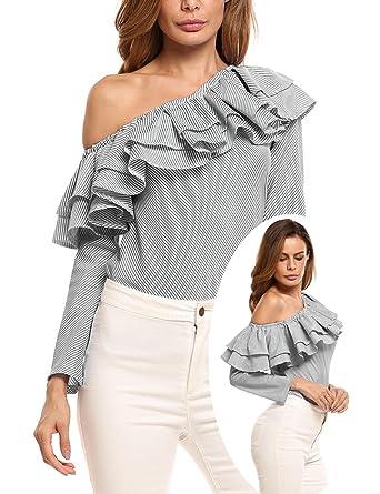 48d1c6edcec60e SoTeer Women Striped Long Sleeve One Shoulder Ruffles Blouse Shirt Tops(Black  White S)