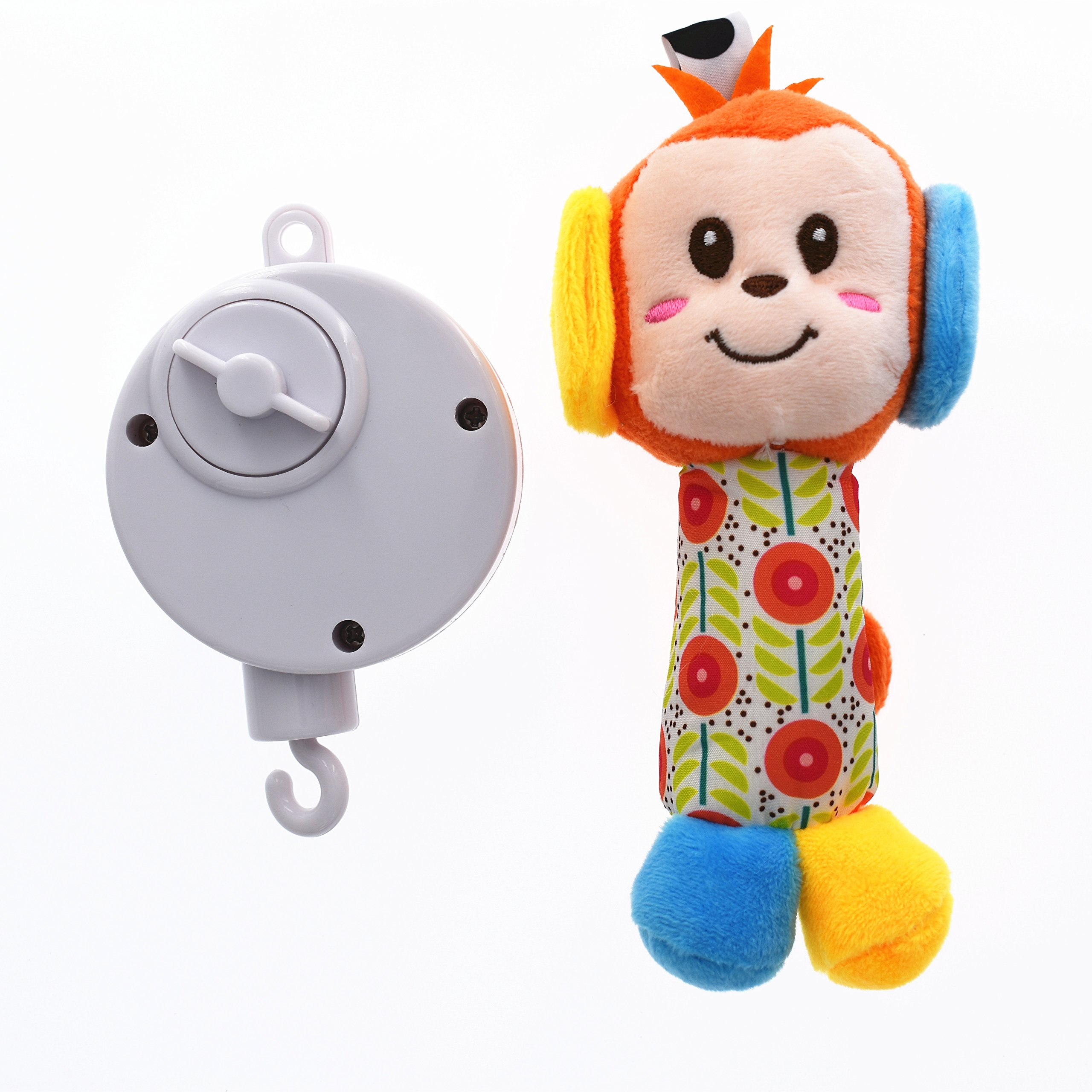 Musical Wind Up Bed Bell Crib Mobile with Soft Toys Tune Brahms lullaby