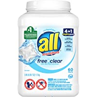 All 60 Count Mighty Pacs Laundry Detergent Free Clear for Sensitive Skin