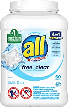 2 X 60-Count All Mighty Pacs Laundry Detergent Free Clear