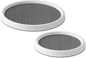 Copco 5220593 Non-Skid Pantry Cabinet Lazy Susan Turntable, 9-Inch and 12-Inch, White/Gray, 2-Pack
