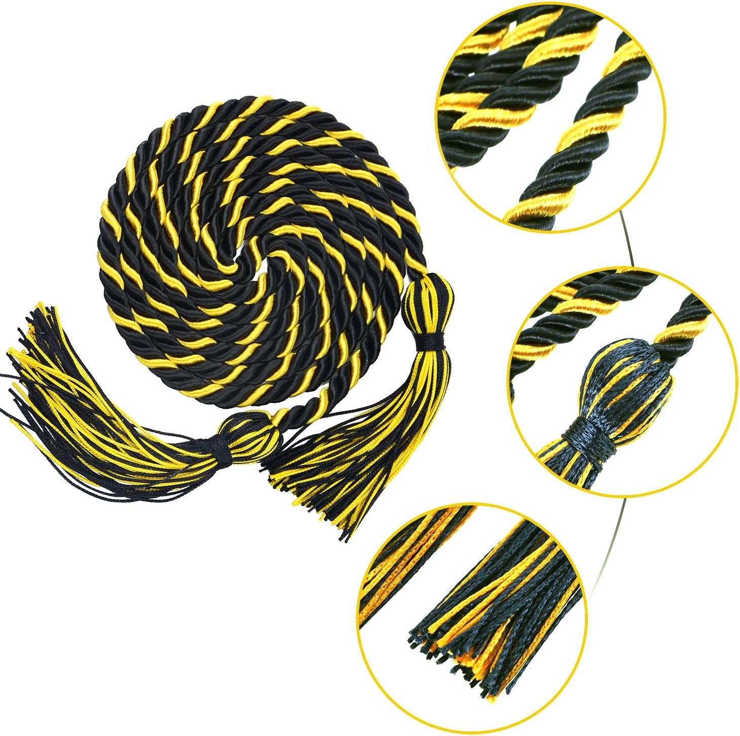 Black/&Gold Makhry 2X 67 inches//170cm Handmade Graduation Honor Cord Tassel with Double Cord for Women//Kid Home Decor Tassels Wedding Favor