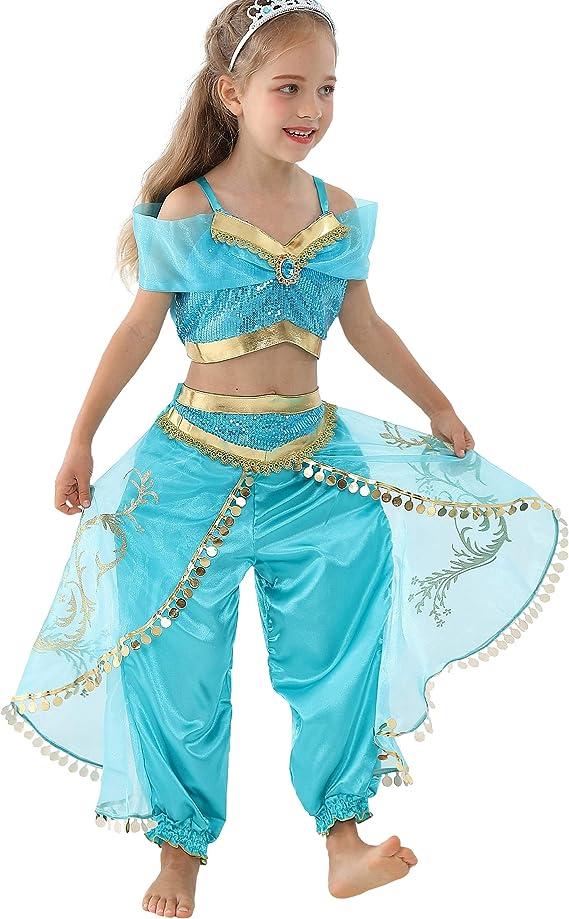 Lito Angels Petites Filles la Princesse Jasmine Habiller Costumes Danse du Ventre Halloween D/éguisement Taille 3-4 Ans